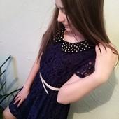 Последний размер, платье гипюровое на 10 лет.