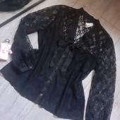 Суперовая блузы ажур узор спереди бант и вставка чтоб не просвечивалась грудь зад ажур
