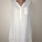 Белая натуральная блуза 14размер