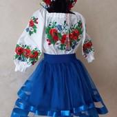 натуральная вышиванка для девочки ( 100% хлопок) Вишиванка для дівчинки
