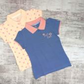 Комплект из 2-х футболок поло на девочку от германского бренда lupilu.размер 98/104