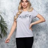 """Новинка !!! футболка """" Позитив """" 100 % хлопок,размеры С, М, Л, цвет белый и черный"""
