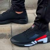 Кроссовки черные с логотипом Fila на шнуровке. Качество выше цены.