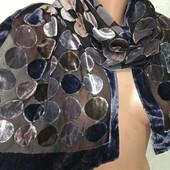 Шикарный шарф-палантин крепшифон+бархат 135Х32 см.