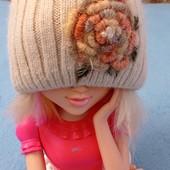 теплющая двойная шапка