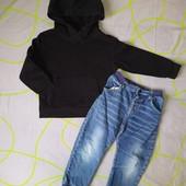 Теплая капюшонка HM и джинсы