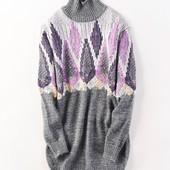 Удлиненный пуловер-платье оверсайз, размер универсальный