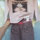 Стильный лот штанишки + реглан в подарок на 4-5 лет
