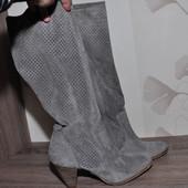 25,5 см Новые. Замш. Фирменные брендовые легкие сапоги