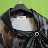 Блуза, черный/серебро, 46 наш., леопард, цветы