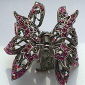 Заколка металлическая винтажная бабочка