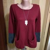 Бордовый свитерок хорошего качества 12 размер.