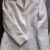 Белоснежный жаккардовый фактурный пиджак М/л
