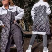 Стёганое комбинированное пальто, размер 50-52