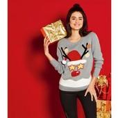 Esmara женский нежный свитер пуловер с рождественским мотивом Германия! Мигают глаза!
