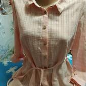 Рубашка-туника розового цвета(фото не передаёт) из батиста на S,см.замеры