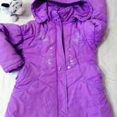 Качеств.красивая теплая зимняя куртка девочк2-5л(см.замеры).Холофайбер и флис.подклад.отл.состояние!