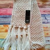 Кремовый шарф с кисточками F&F
