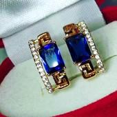Последние!Позолоченные серьги с греческим узором с синим цирконом, медзолото, позолота 585 пробы